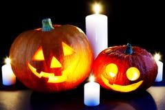 Zucche e candele di Halloween Fotografia Stock Libera da Diritti