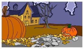 Zucche e casa di Halloween Immagini Stock Libere da Diritti