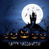 Zucche e castello di Halloween Fotografia Stock