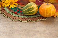 Zucche e foglie di autunno Fotografia Stock Libera da Diritti