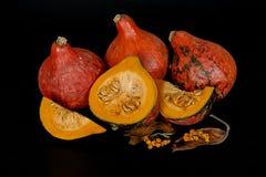 Zucche e foglie di autunno decorative per Halloween Fotografia Stock Libera da Diritti