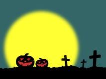 Zucche e tomba di Halloween con la luna piena Fotografia Stock Libera da Diritti
