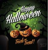 Zucche felici di Halloween sotto una luna verde Fotografia Stock Libera da Diritti