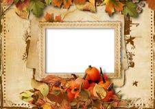 Zucche, foglie di autunno e struttura per la foto su backgroun d'annata Fotografie Stock Libere da Diritti