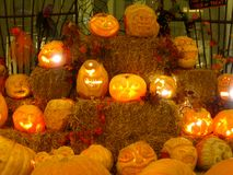 Zucche intagliate di Halloween Fotografia Stock