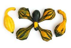 Zucche ornamentali impilate su un fondo bianco Fotografia Stock