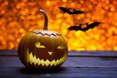 Zucche per Halloween ed i pipistrelli Fotografia Stock Libera da Diritti