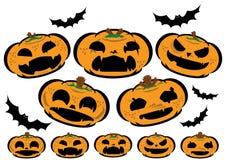 Zucche rassodate di Halloween con il fronte differente Fotografia Stock