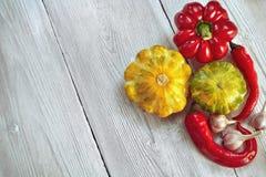 Zucche rosse, gialle e verdi del cespuglio, peperoni, aglio su fondo di legno bianco Giardino, agricoltura e concetto di azienda  Fotografia Stock Libera da Diritti