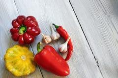 Zucche rosse, gialle e verdi del cespuglio, peperoni, aglio su fondo di legno bianco Giardino, agricoltura e concetto di azienda  Immagini Stock Libere da Diritti