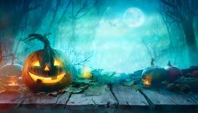 Zucche spaventose di Halloween immagine stock