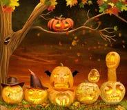 Zucche spaventose di Halloween alla notte illustrazione vettoriale