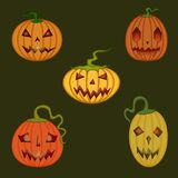 Zucche spaventose e sveglie di festa di Halloween, illustrazione vettoriale