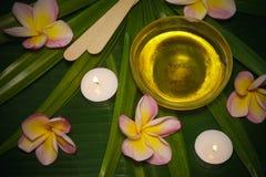Zuccherando depilazione fissata con Sugar Paste e la spatola su bello fondo con i fiori del frangipane e la palma fotografia stock