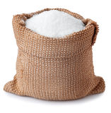 Zuccheri i granelli in borsa isolata su fondo bianco Fotografia Stock Libera da Diritti