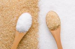 Zucchero bianco e marrone Fotografie Stock