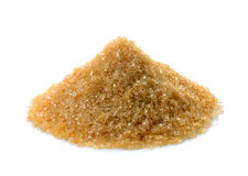 Zucchero bruno su fondo bianco Immagini Stock Libere da Diritti