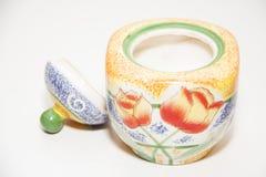 Zucchero-ciotola arancio per tè Fotografia Stock