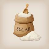 Zucchero con il mestolo in sacco della tela da imballaggio Fotografie Stock Libere da Diritti