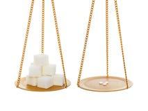 Zucchero contro il dolcificante Fotografie Stock