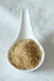 Zucchero in cucchiaio ceramico Fuoco selettivo fotografia stock libera da diritti