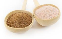Zucchero della palma e sale himalayan Immagine Stock Libera da Diritti