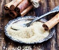 Zucchero di Brown con cannella Fotografie Stock Libere da Diritti