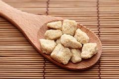 Zucchero di canna di Brown in un cucchiaio di legno Fotografia Stock