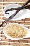 Zucchero di canna e baccello della vaniglia Fotografia Stock Libera da Diritti