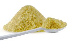 Zucchero di canna isolato su bianco fotografia stock