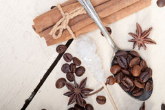 Zucchero e spezia di Coffe Fotografie Stock Libere da Diritti