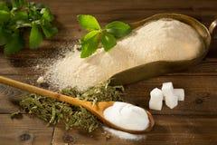 Zucchero o dolcificante di stevia Fotografia Stock Libera da Diritti