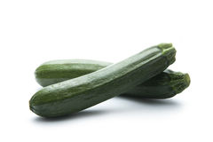 Zucchini. Pair of green zucchini isolated on white background Stock Photos
