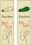 Zucchini. Two Price Tags with Vintage Effect Royalty Free Stock Image