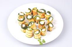 Zucchini arrostito con feta Fotografia Stock Libera da Diritti