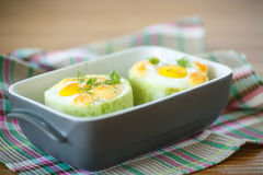 Zucchini baked with egg and cheese Stock Photo