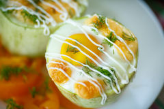 Zucchini baked with egg and cheese Stock Images