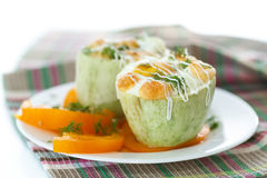 Zucchini baked with egg and cheese Stock Photos