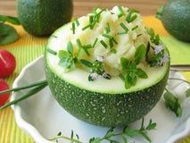 Zucchini ball stuffed with mashed potatoes Royalty Free Stock Image