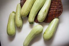 Zucchini in a basket Royalty Free Stock Images