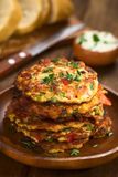 Zucchini and Bell Pepper Fritter Royalty Free Stock Photography