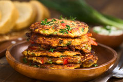 Zucchini and Bell Pepper Fritter Stock Photos