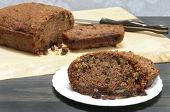 Zucchini Bread with raisins and walnuts, fresly baked and homema Royalty Free Stock Photos