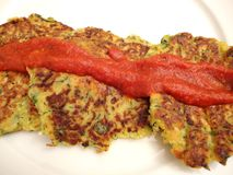 Zucchini Cakes With Marinara Sauce Stock Photos