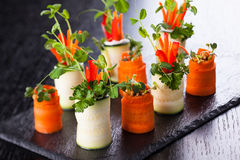 Zucchini and Carrot Roll-Ups Stock Images