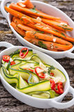 Zucchini and carrot salads Stock Images