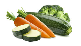 Zucchini carrots broccoli isolated on white background. As package design element Stock Photography