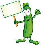 Zucchini  cartoon with signboard Stock Photos