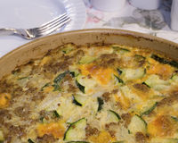 Zucchini Casserole. Made with Sausage, Cheese, and Onions stock photo