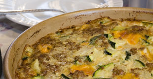 Zucchini Casserole. Made with Sausage, Cheese, and Onions royalty free stock image